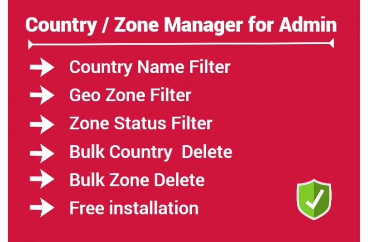 Opencart Extension easy Country & Zone list Manager for Admin