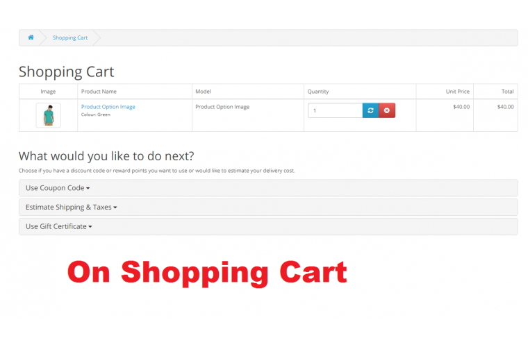 Opencart Extension Product Option change Image change