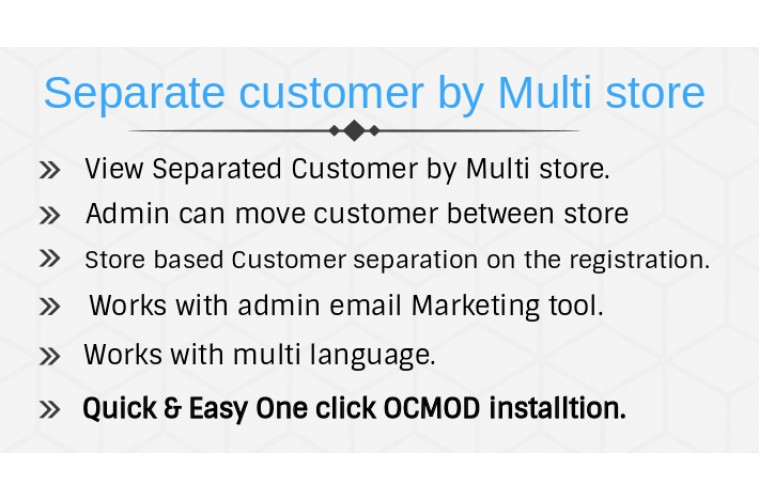 Opencart extension Separate Customers based on Multistore