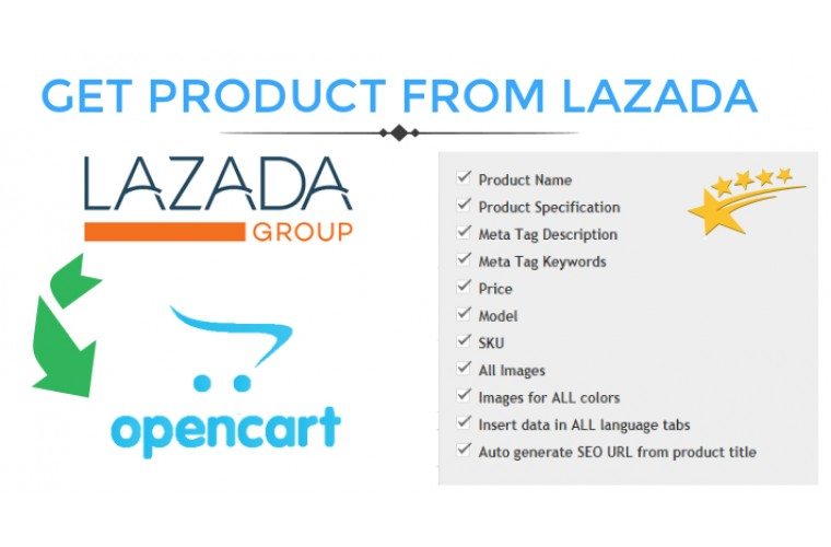 Opencart Extension Get Product data from lazada to Opencart store