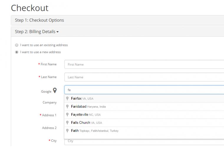 Google Address on checkout and register page Opencart Extension