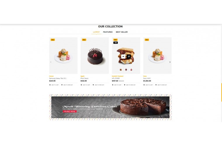 Sellegance Cake Responsive and Clean OpenCart Theme