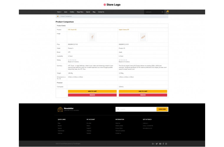 Diamond Pro Clean responsive OpenCart Theme