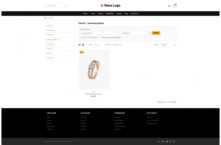 Light Jewellery Diamond Premium Opencart theme