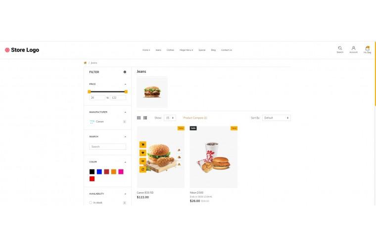 Restaurant store Advanced opencart theme