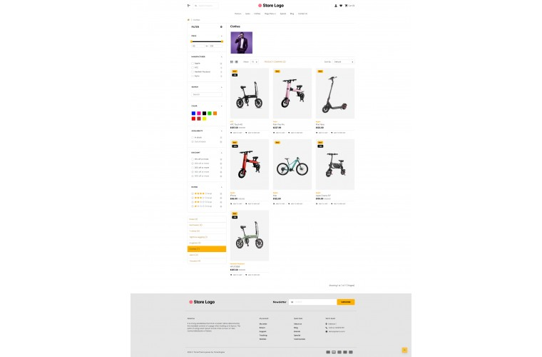 2021 Electric bike Light and fast OpenCart Theme