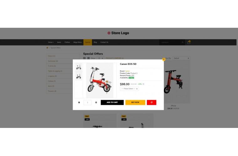 Electric bike Pro Clean responsive OpenCart Theme