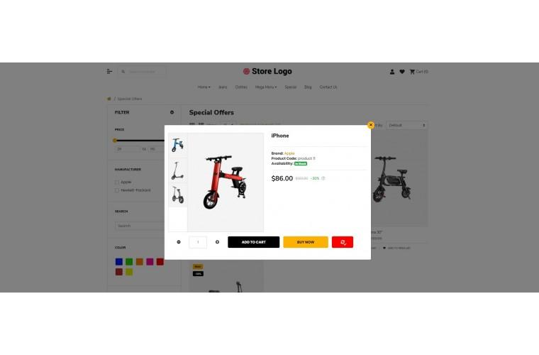 Fast Electric bike Advanced Opencart theme