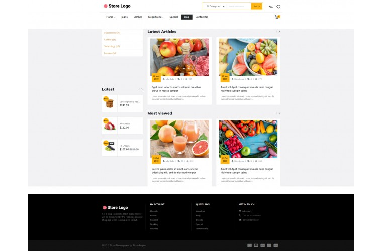 Faster Provisions Pro Opencart theme