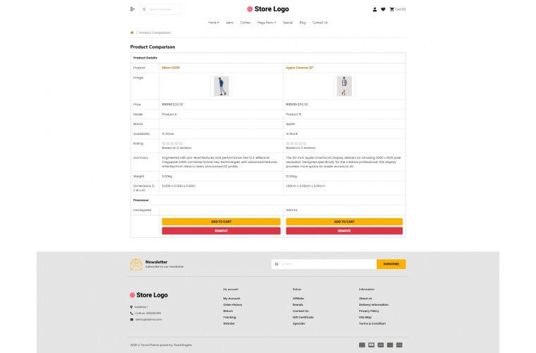 Fast Clothing Advanced Opencart theme