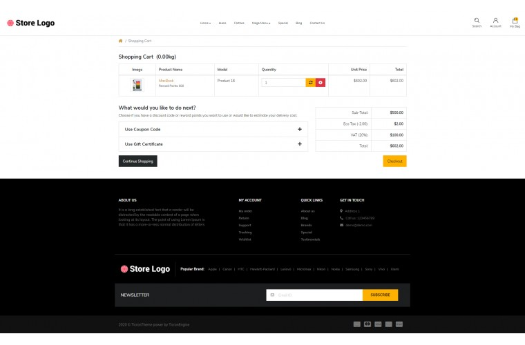Cover store Advanced opencart theme