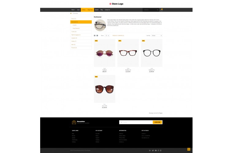 Optical Pro Clean responsive OpenCart Theme
